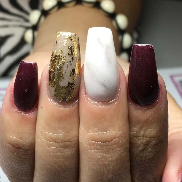Foil and Marble Nails for Fall Nail Design Ideas