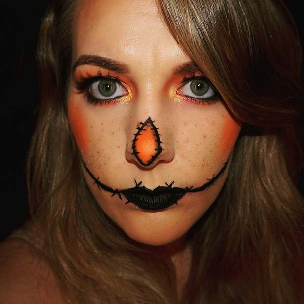Spooky Scarecrow for Easy, Last-Minute Halloween Makeup Looks