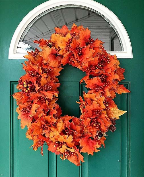 Fall Leaf Wreath for Fall Home Decor Idea