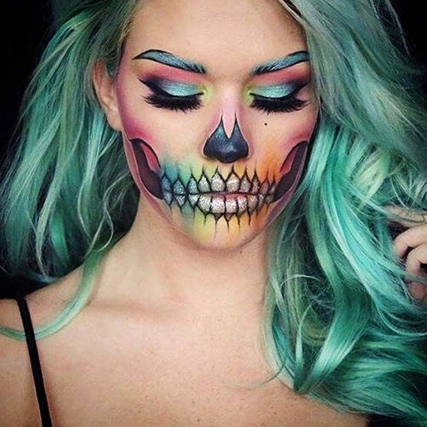 23 skeleton makeup ideas for halloween stayglam. Black Bedroom Furniture Sets. Home Design Ideas