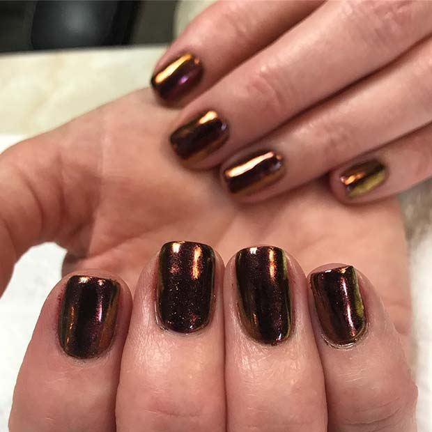 Fall Chrome Nails for Fall Nail Design Ideas