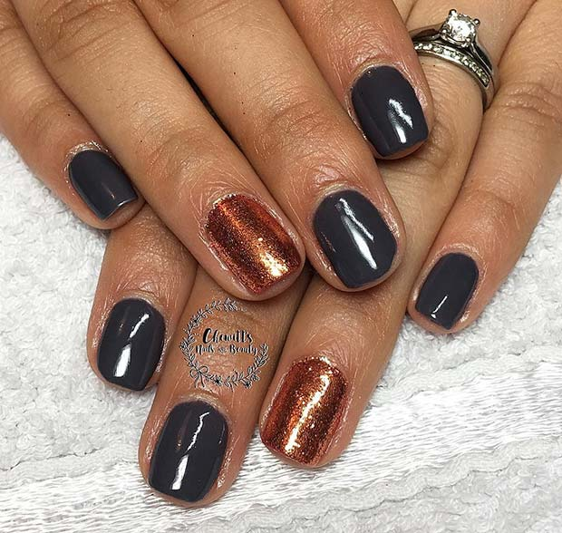 Fall Copper Accent Nail for Fall Nail Design Ideas