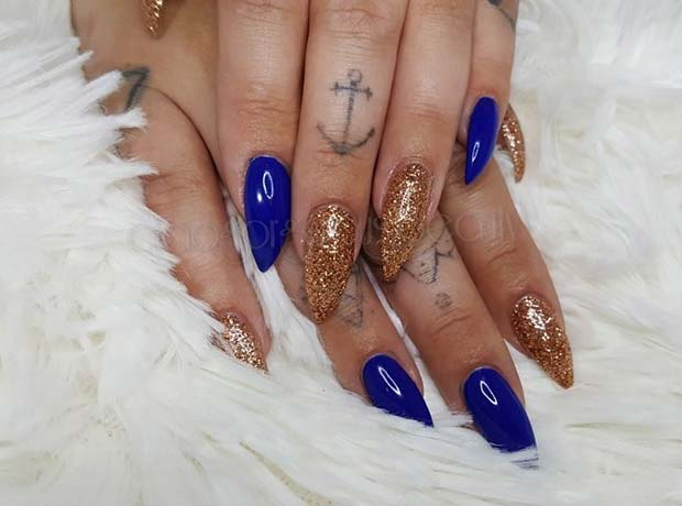 Bold Blue and Glitter Nails for Fall Nail Design Ideas