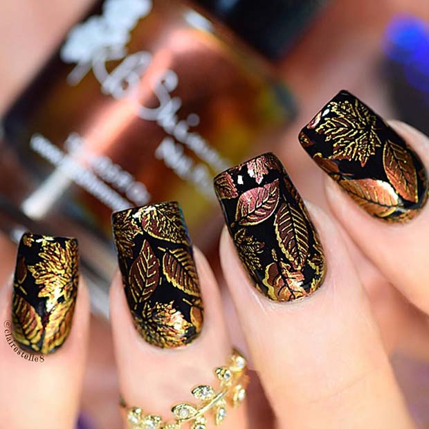 Black Nails with Fall Leaf Design for Fall Nail Design Ideas