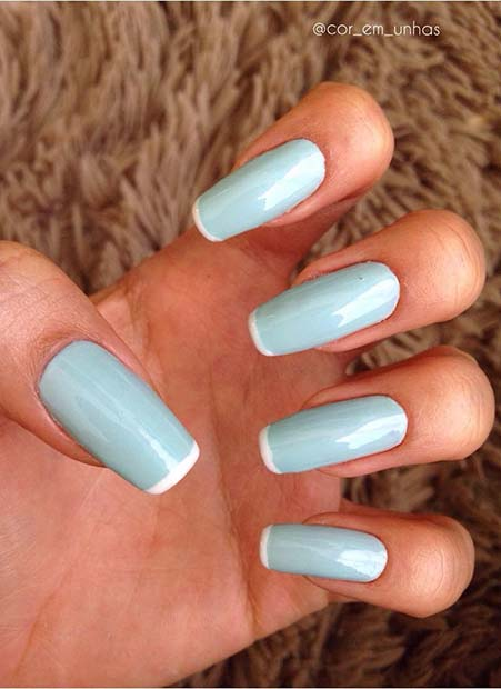 Light Blue and White Design for Simple Yet Eye-Catching Nail Designs
