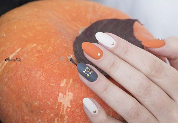 Embellished Matte Fall Nails for Fall Nail Design Ideas