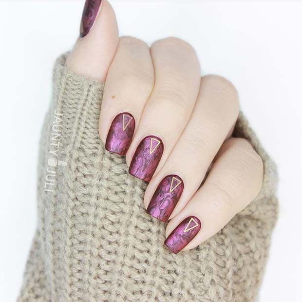 Cranberry Swirl Nail Art for Fall Nail Design Ideas