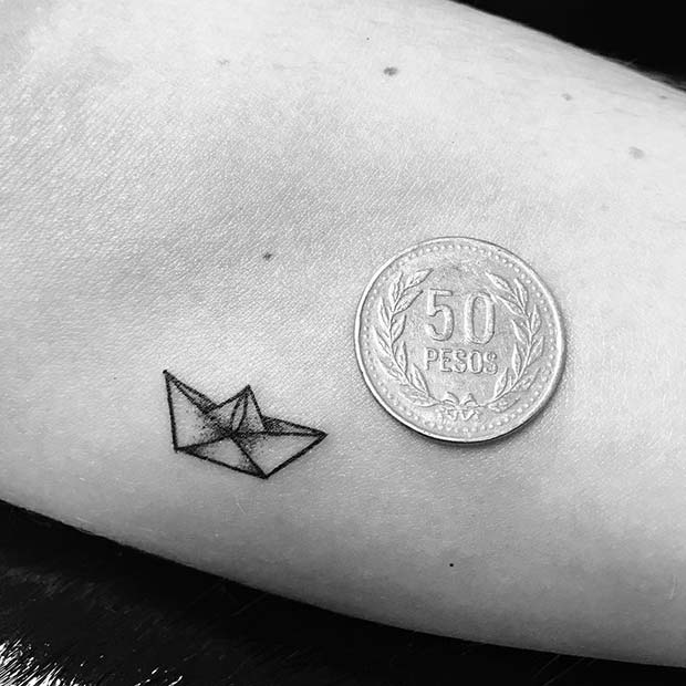 Tiny Paper Boat Tattoo for Tiny Tattoo Ideas