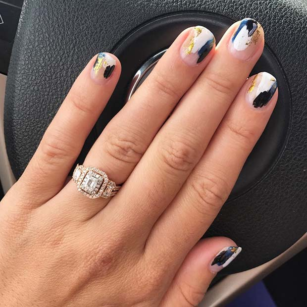 Fall Abstract Nail Art for Fall Nail Design Ideas