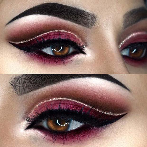 Beautiful Burgundy Eye Makeup for Fall Makeup Looks