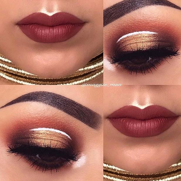 Warm Fall Eyes and Lips for Fall Makeup Looks