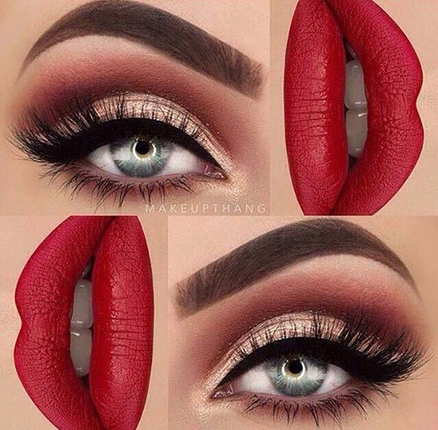 Classic Eyeliner and Red Lips for Fall Makeup Looks