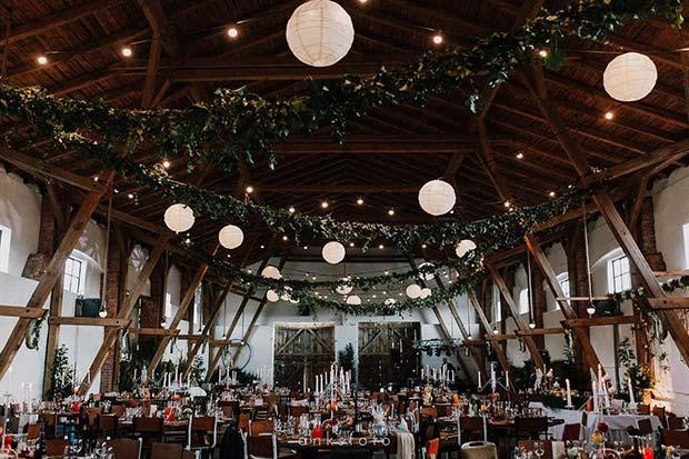 Beautiful Indoor Wedding Reception Idea for Rustic Wedding Ideas