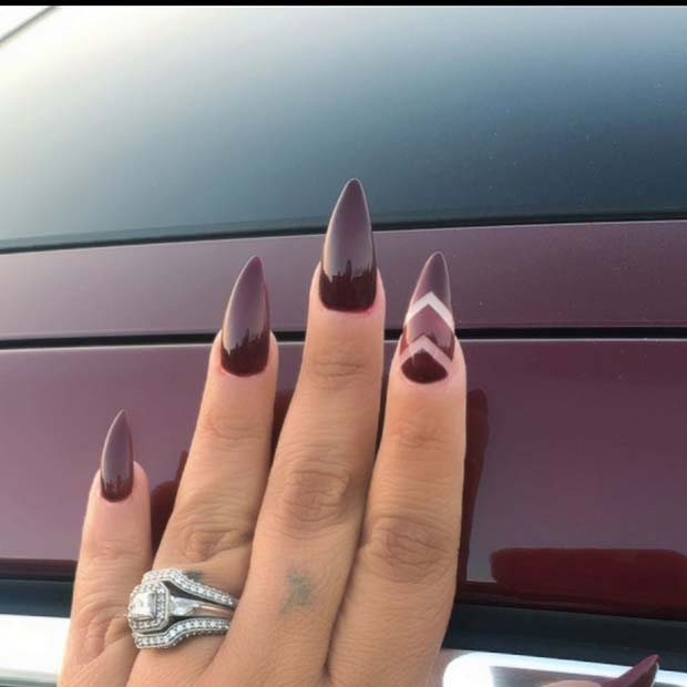 Burgundy Nails with Chevron Accent Nail for Fall Nail Design Ideas