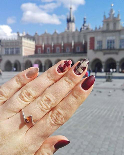 Stylish Plaid Nails for Fall Nail Design Ideas