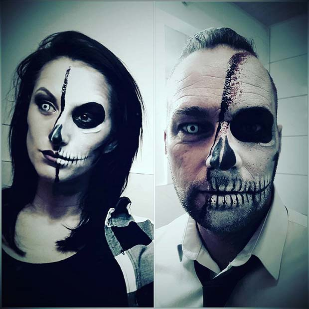 Skeleton Faces for Scary Halloween Costume Ideas for Couples