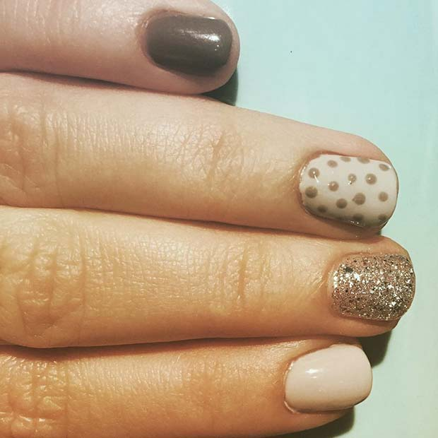 Spotty Accent Nail for Simple Yet Eye-Catching Nail Designs