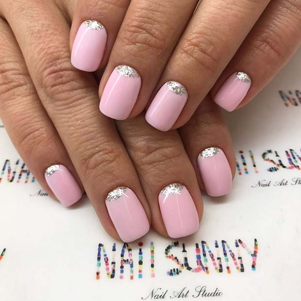 Elegant Pink and Glitter Nails for Simple Yet Eye-Catching Nail Designs