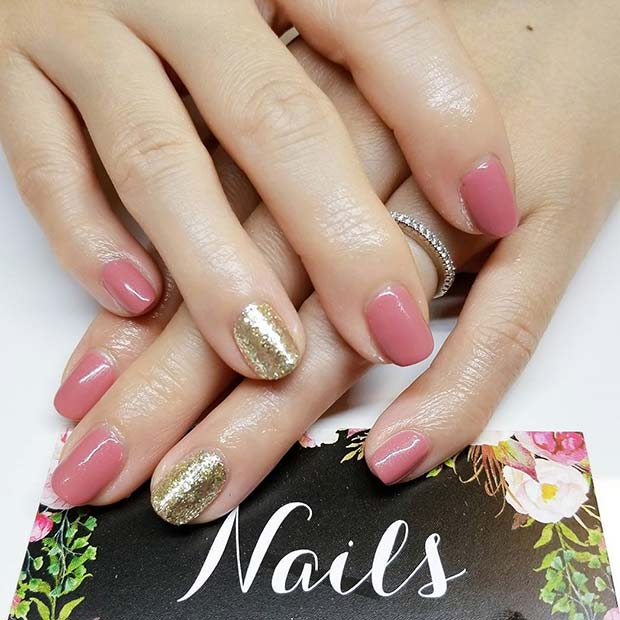 Pink and Glitter Nails for Simple Yet Eye-Catching Nail Designs