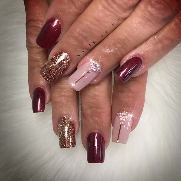Sparkly Fall Nails for Fall Nail Design Ideas