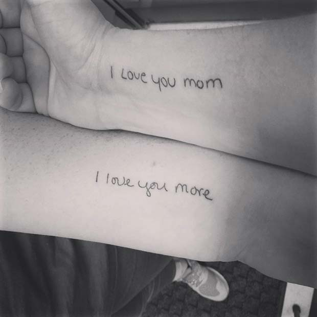 Love You Mom Tattoo for Popular Mother Daughter Tattoos