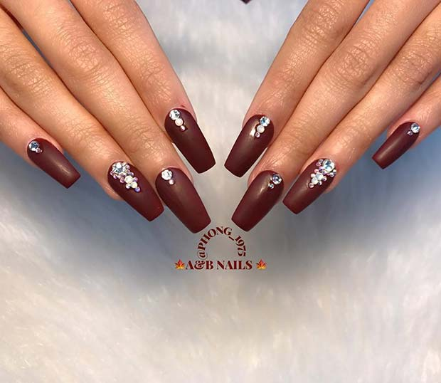 Burgundy and Bling for Fall Nail Design Ideas