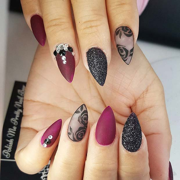 Glitter and Lace Nails for Fall Nail Design Ideas