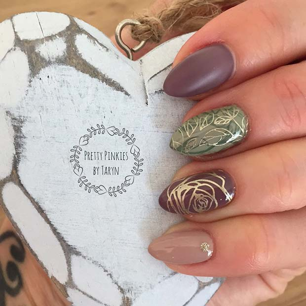 Gold Fall Nail Designs for Fall Nail Design Ideas