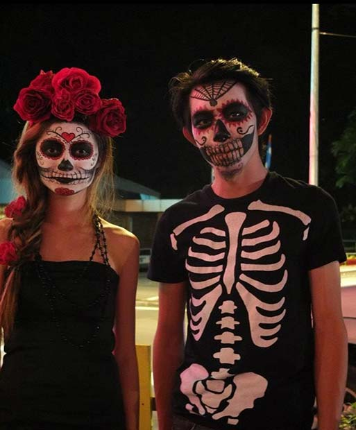 Day of the Dead Skeletons for Scary Halloween Costume Ideas for Couples