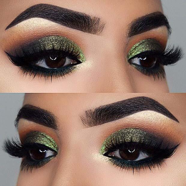 Green Glitter for Fall Makeup Looks