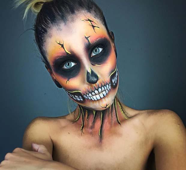 Orange Tone Skeleton Makeup for Skeleton Makeup Ideas for Halloween