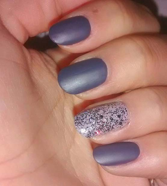 Matte Nails and Glitter for Simple Yet Eye-Catching Nail Designs
