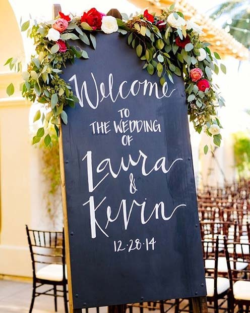Floral Welcome to the Wedding Board for Rustic Wedding Ideas