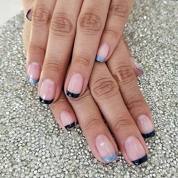 Blue French Nails for Simple Yet Eye-Catching Nail Designs