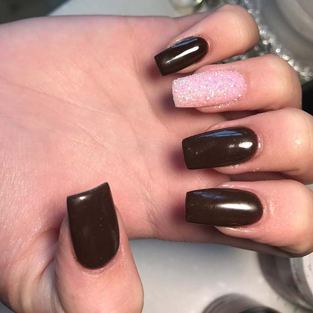 Autumnal Brown Nails with Pink Accent Nail for Fall Nail Design Ideas