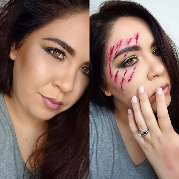 Gory Scratches for Easy, Last-Minute Halloween Makeup Looks