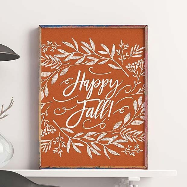 Happy Fall Poster for Fall Home Decor Ideas