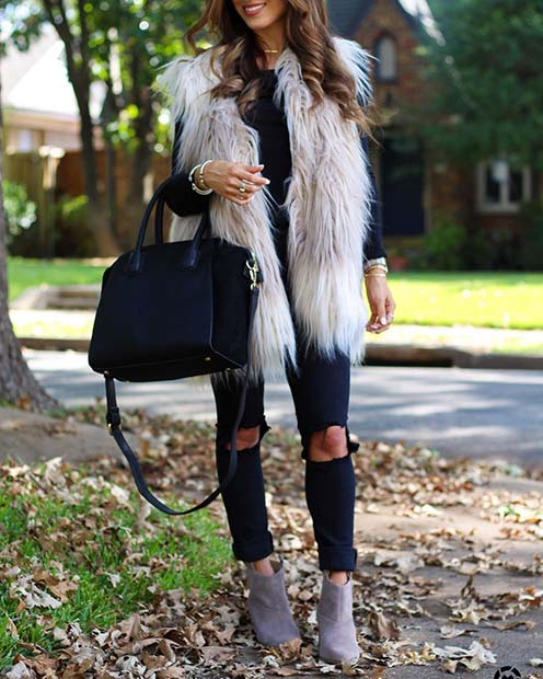 Faux Fur Gilet for Cute Outfits to Copy This Winter