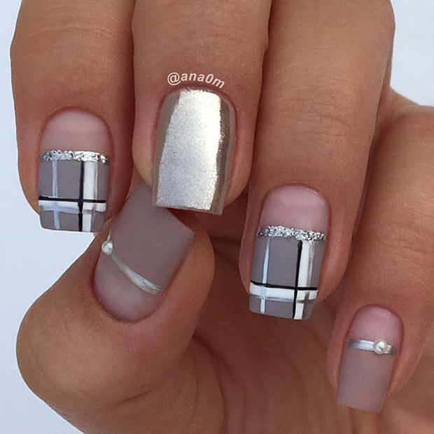 Metallic Plaid Nail Designs for Winter Nail Ideas - 23 Nail Design Ideas Perfect For Winter StayGlam