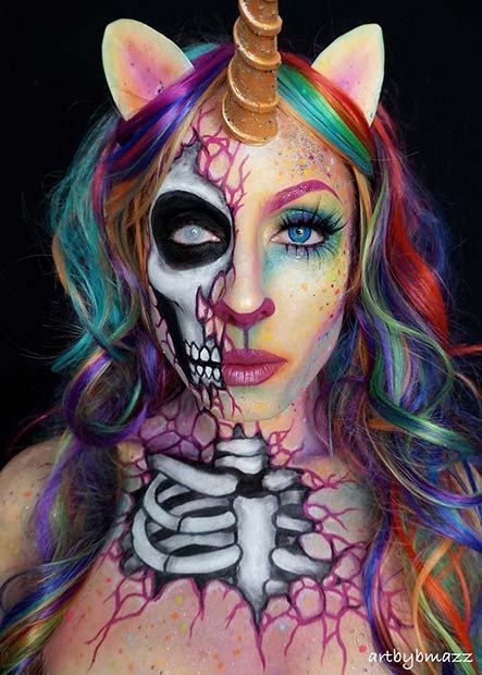 Half Dead Rainbow Unicorn for Mind-Blowing Halloween Makeup Looks