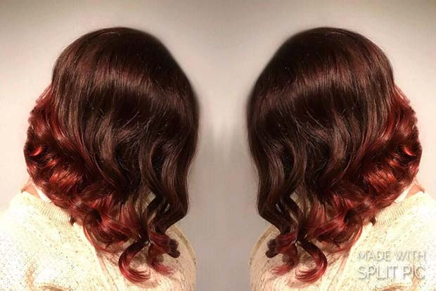 Fall Red Ombre Lob for Lob Hairstyles for Fall and Winter