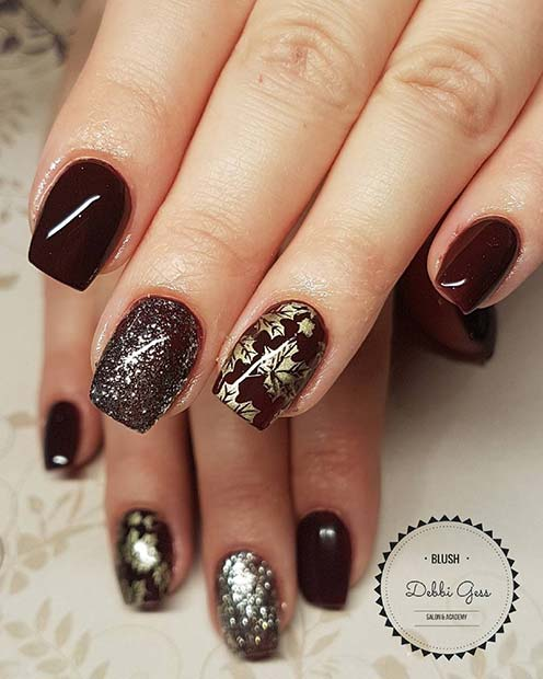 Dark Polish and Gold Leaf Nail Design for Winter Nail Ideas