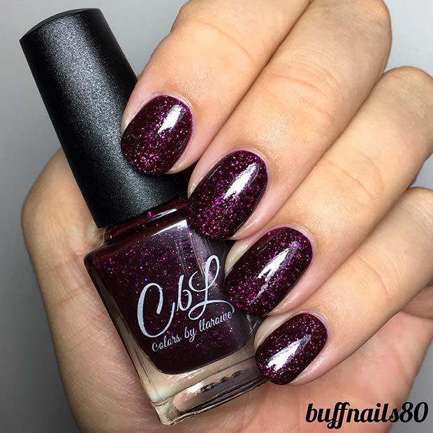 Dark Purple Glitter Nails for Winter Nail Ideas