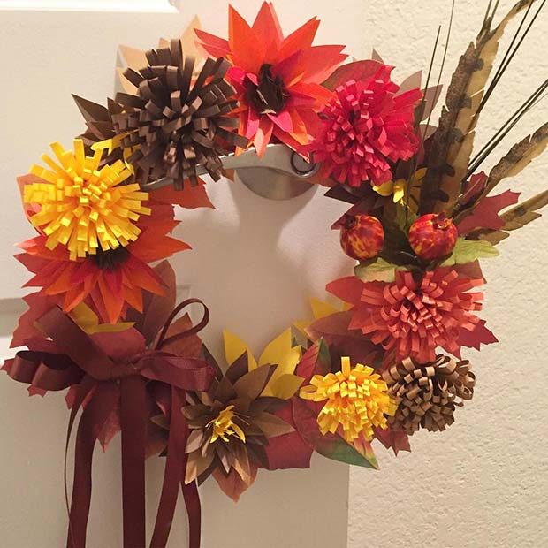 Paper Wreath for Thanksgiving Crafts