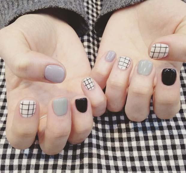 Grey, Black and Grid Nails for Winter Nail Ideas