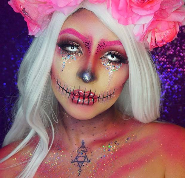 Pink Glitter Skull for Unique Halloween Makeup Ideas to Try