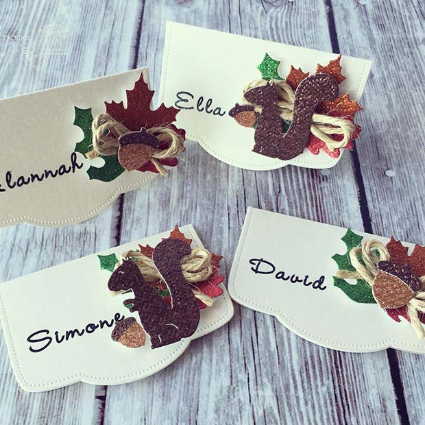 Fall Inspired Place Cards for Thanksgiving Crafts