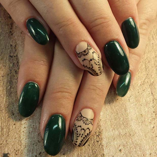 Winter Green Nails with Lace Accent Nail for Winter Nail Ideas
