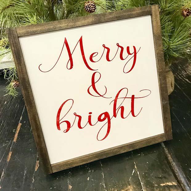 Farmhouse Merry and Bright Christmas Sign for Farmhouse Inspired Christmas Decor