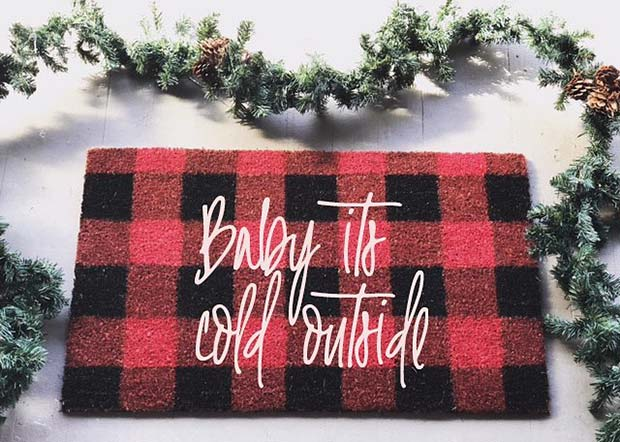 Baby Its Cold Outside Door Mat for Farmhouse Inspired Christmas Decor